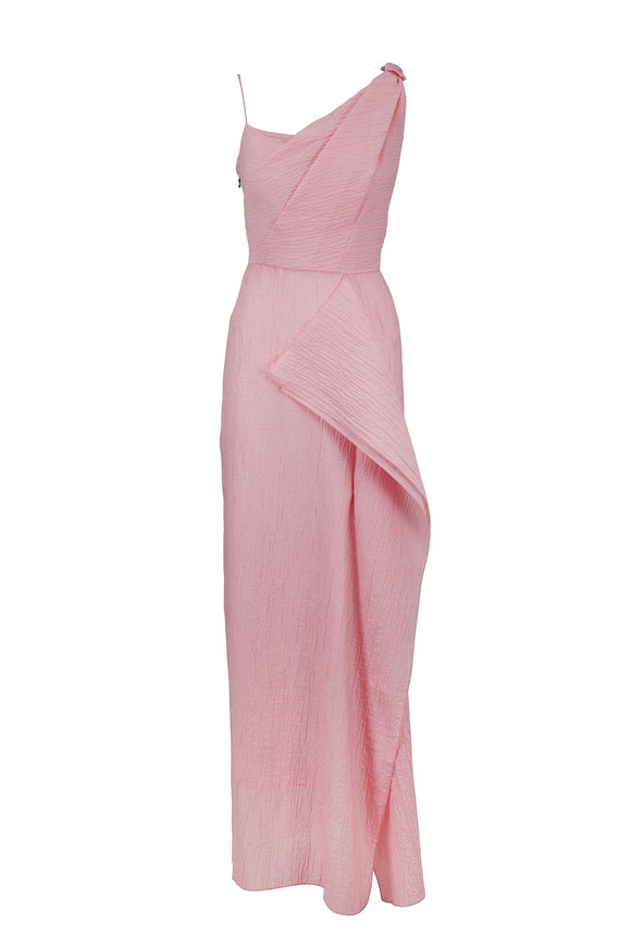 Roland Mouret Light Pink Rippled Cotton One Shoulder Gown