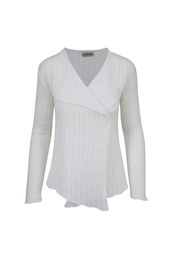 Lainey Keogh White Ribbed Open Front Cardigan