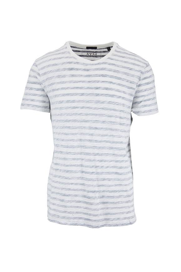 A T M Chalk Slub Cotton Washed Striped T-Shirt