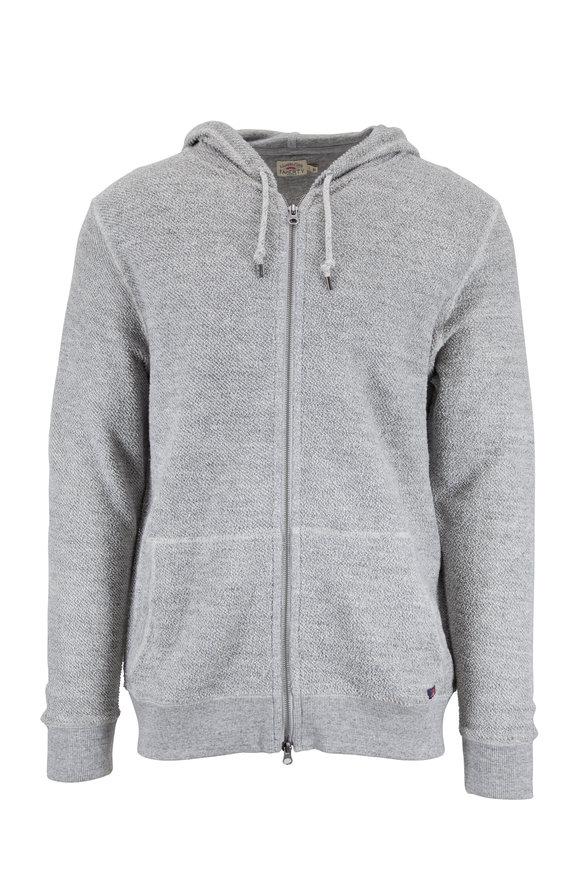 Faherty Brand Gray Heather Cotton Backloop Full-Zip Hoodie