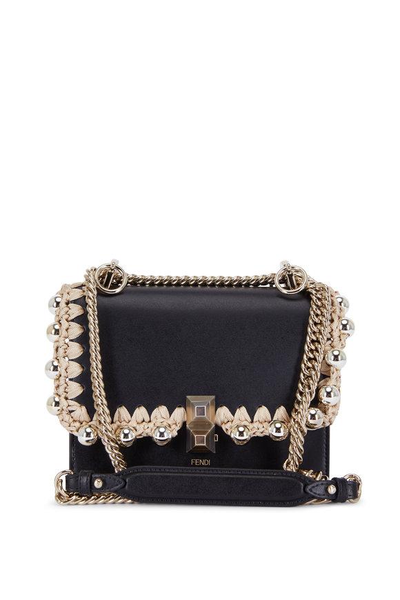 Fendi Kan I Black Leather Ribbon & Studded Shoulder Bag