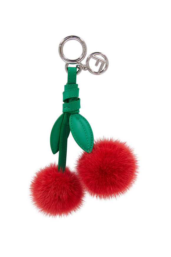 Fendi Red Cherry Mink Bag Charm