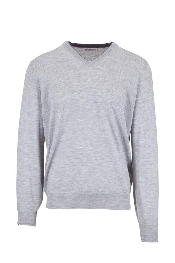 Brunello Cucinelli Light Gray V-Neck Pullover