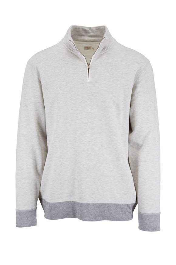 Faherty Brand Light Gray French Terry Quarter-Zip Pullover