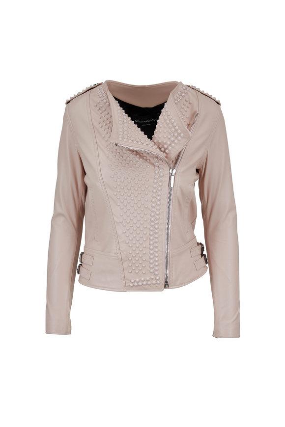 Nour Hammour Erin Light Pink Studded Leather Jacket