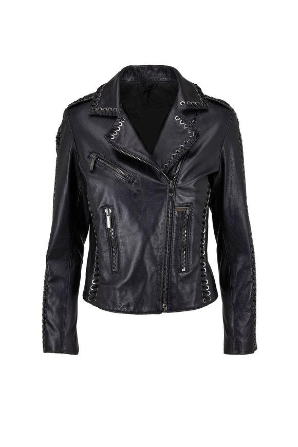 Nour Hammour Vinyl Black Lace Detail Leather Jacket