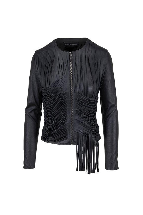 Nour Hammour Drape Black Fringed Leather Jacket