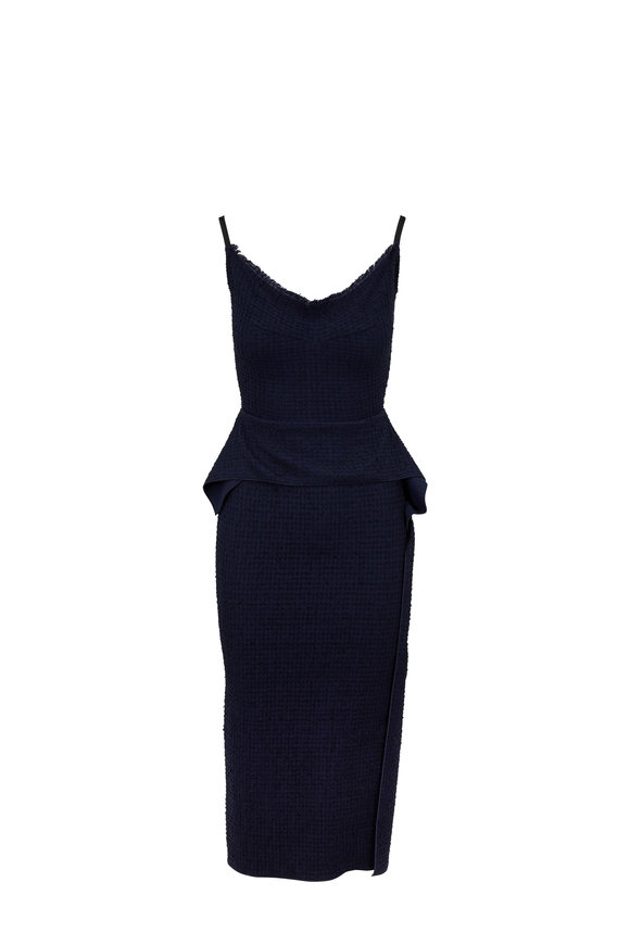 Roland Mouret Wantage Navy Stretch Boucle Dress