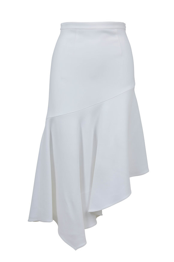 Michael Kors Collection Optic White Double Crepè Asymmetric Skirt