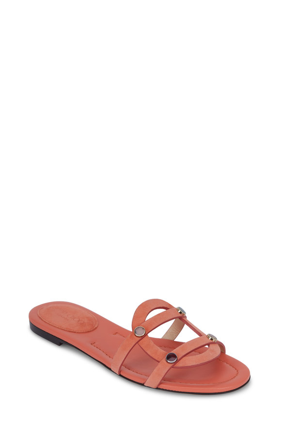 Jimmy Choo Damaris Coral Suede Calypso Stone Effect Sandal