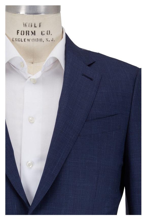 Ermenegildo Zegna Trofeo Summer Navy Plaid Wool Blend Suit