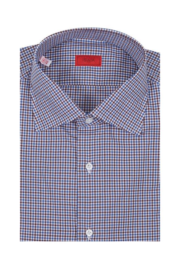 Isaia Blue & Brown Gingham Dress Shirt