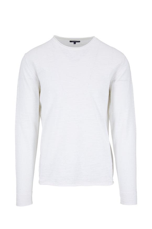 04651 White Cotton & Linen Knit Pullover