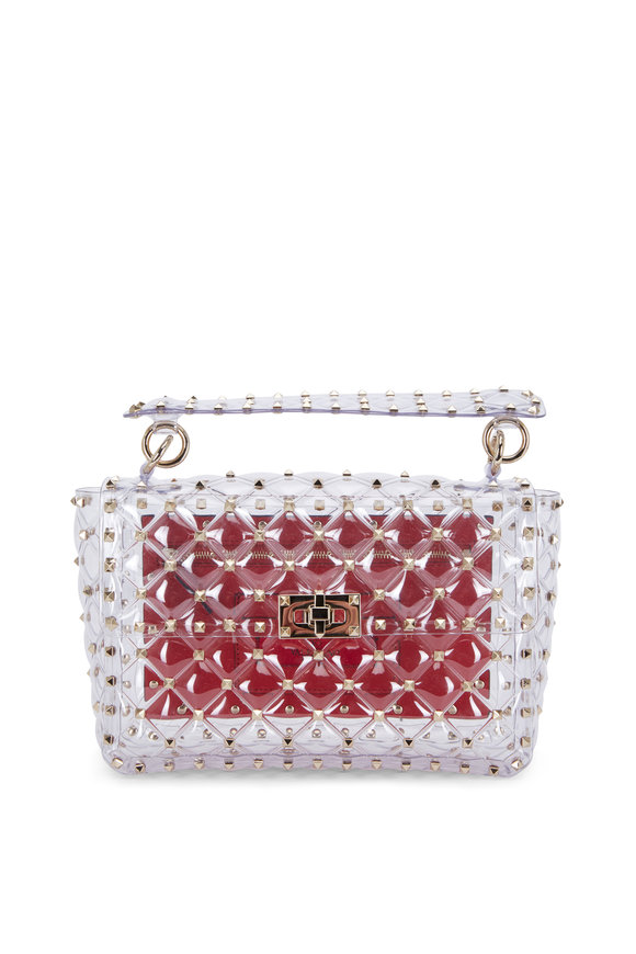 Valentino Garavani Rockstud Clear PVC Medium Shoulder Bag