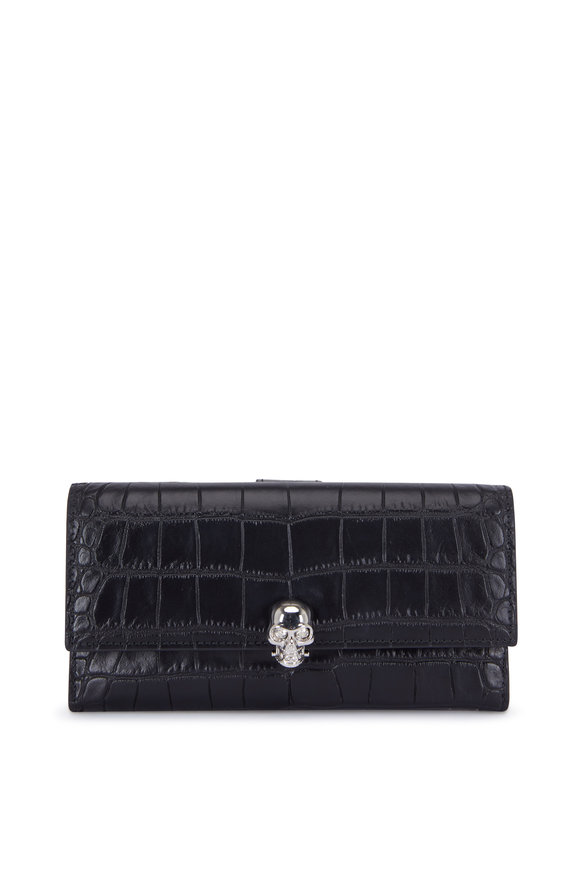 Alexander McQueen Black Croc Stamped Leather Continental Wallet