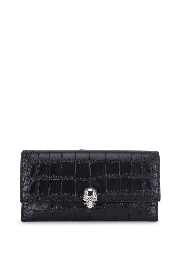 Alexander McQueen Black Croc Stamped Leather Continental Wallet