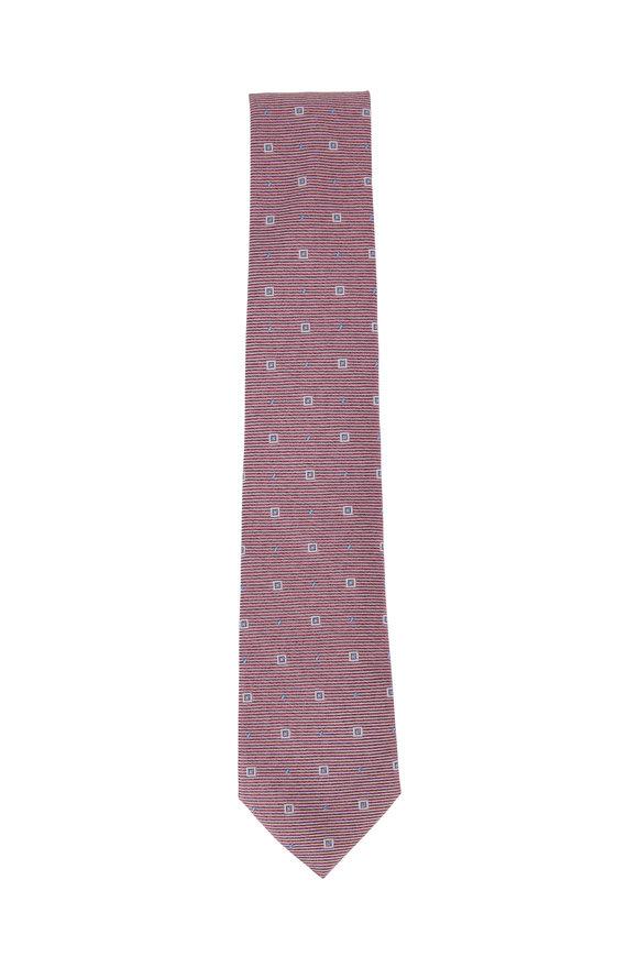 Ligatta Red Geometric Silk Necktie