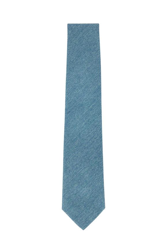 Ligatta Green Herringbone Silk Necktie