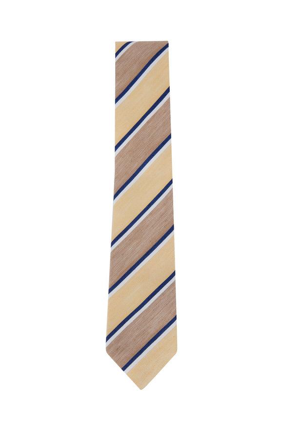 Ligatta Yellow Striped Silk & Linen Necktie