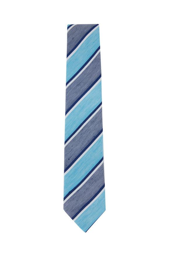 Ligatta Turquoise Striped Linen & Silk Necktie