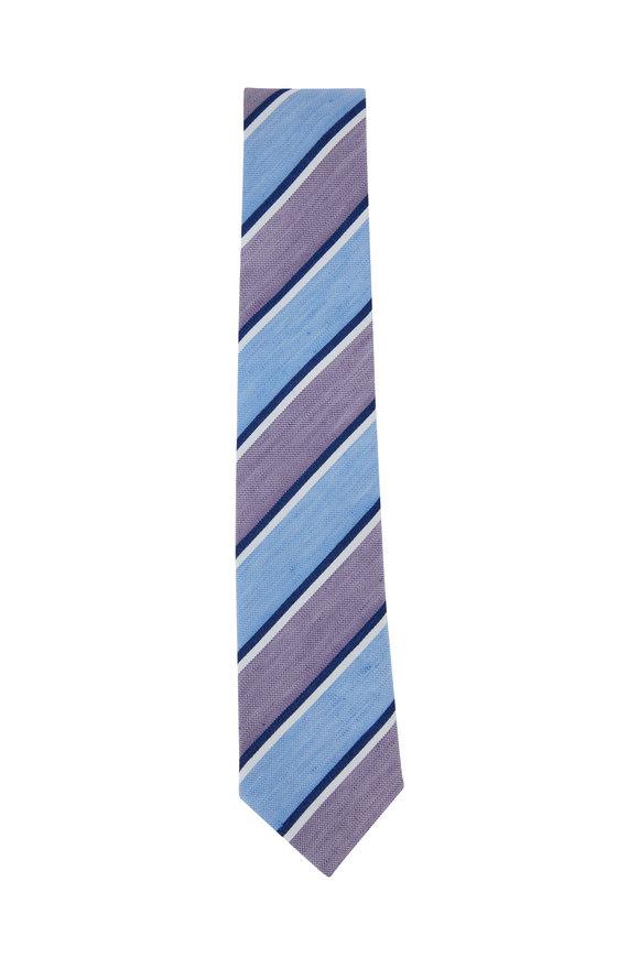 Ligatta Purple Striped Silk & Linen Necktie
