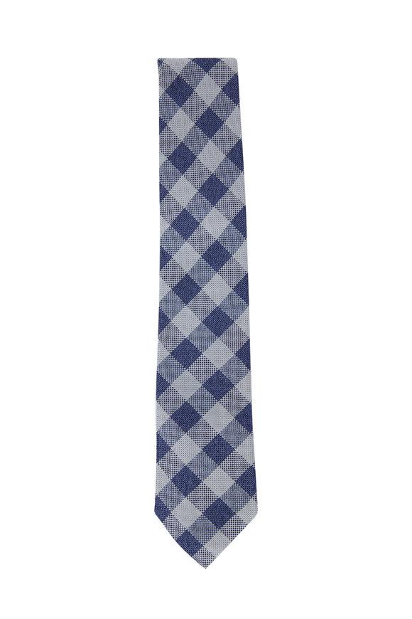 Ligatta Blue Gingham Silk Necktie