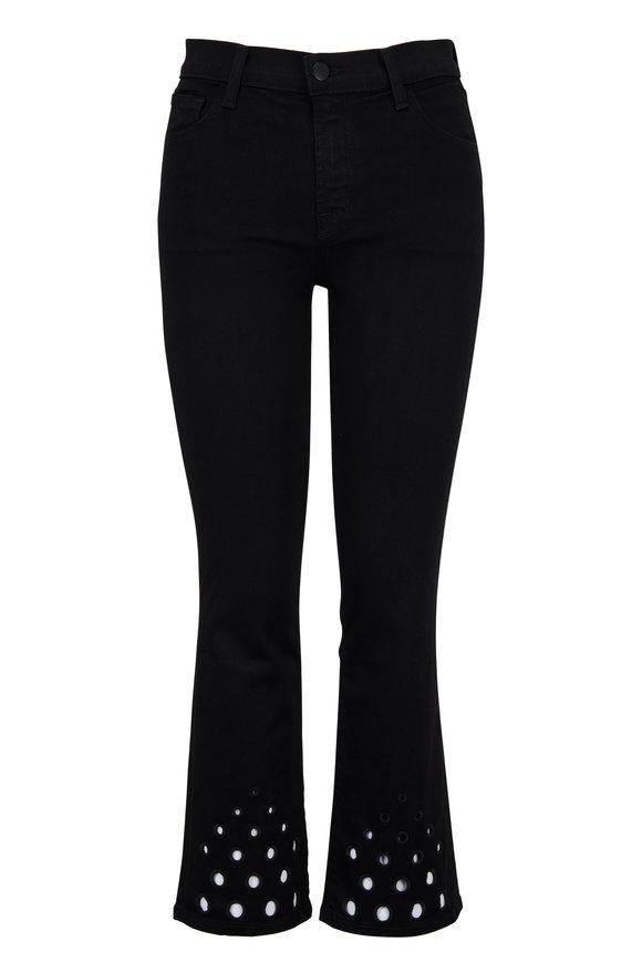 J Brand Selena Black Eyelet Mid-Rise Crop Boot Jean