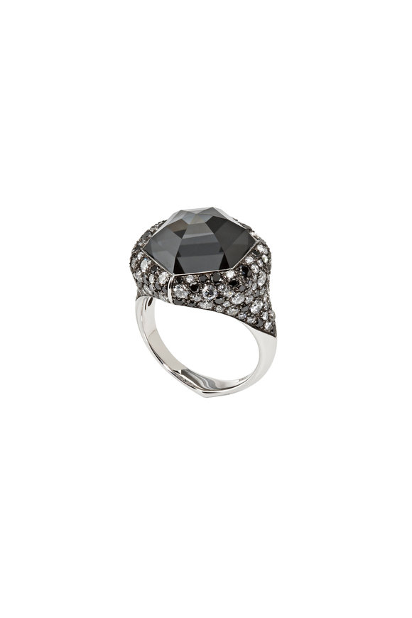 Stephen Webster 18K White Gold Black Diamond & Hematite Ring