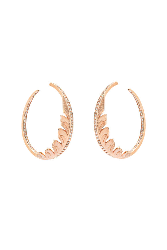 Stephen Webster 18K Rose Gold Magnipheasant Hoop Earrings