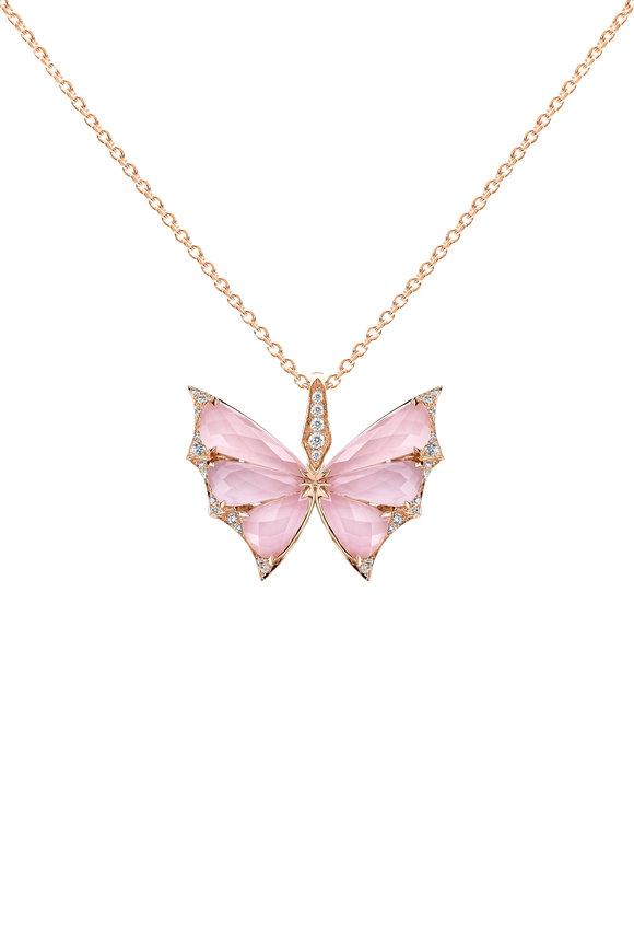 Stephen Webster 18K Rose Gold Pavè Pink Opal Butterfly Necklace