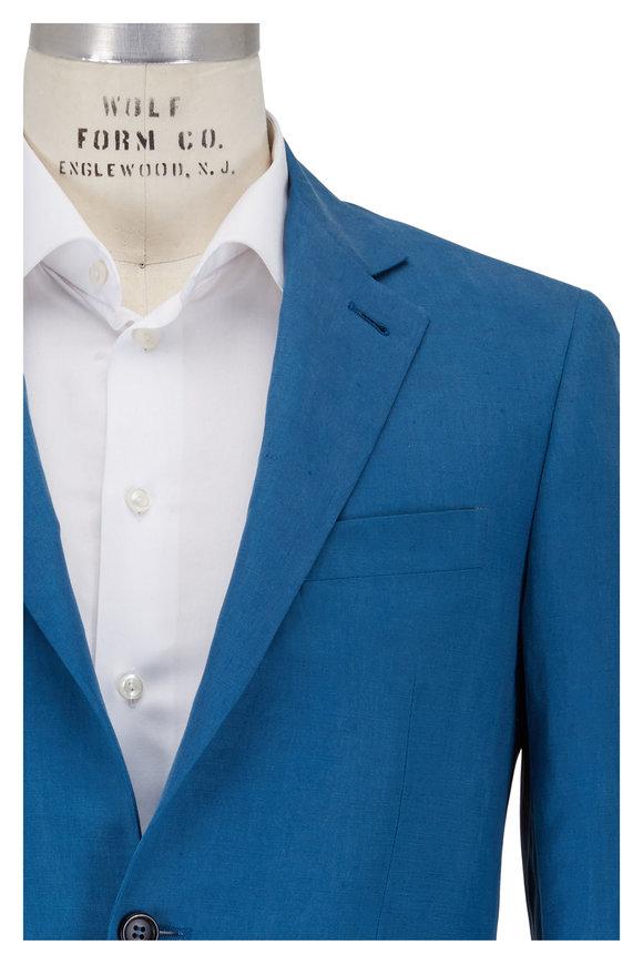 Canali Kei Teal Linen & Silk Sportcoat