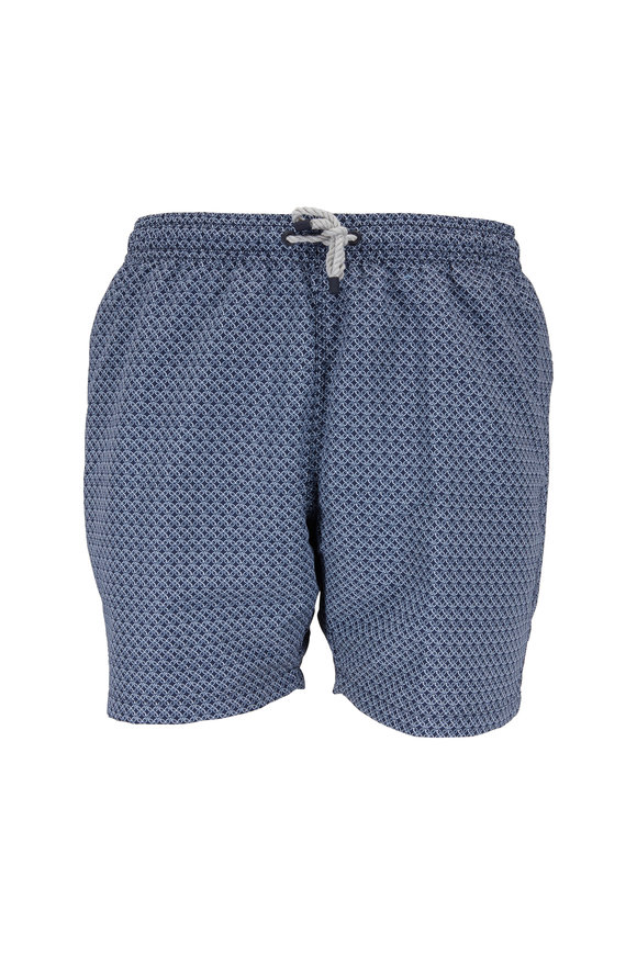 04651/ Navy Blue Print Swim Trunks