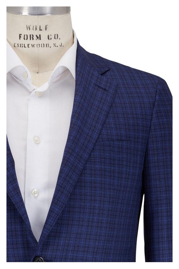 Canali Kei Navy Blue Plaid Wool Sportcoat