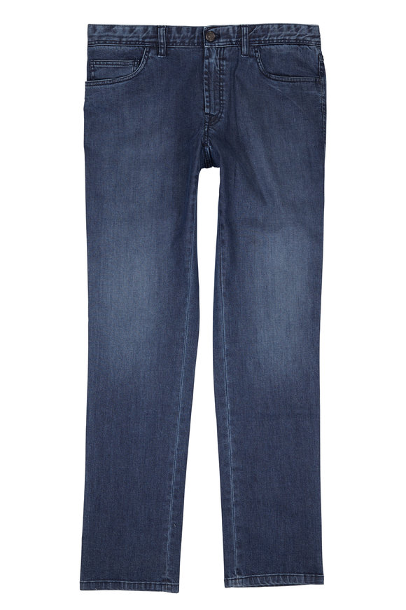 Brioni Navy Cotton Stretch Five Pocket Jean