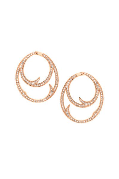 Stephen Webster - 18K Rose Gold Pavè Double Hoop Earrings
