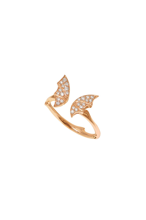 Stephen Webster 18K Rose Gold Pavè Fly By Night Stack Ring
