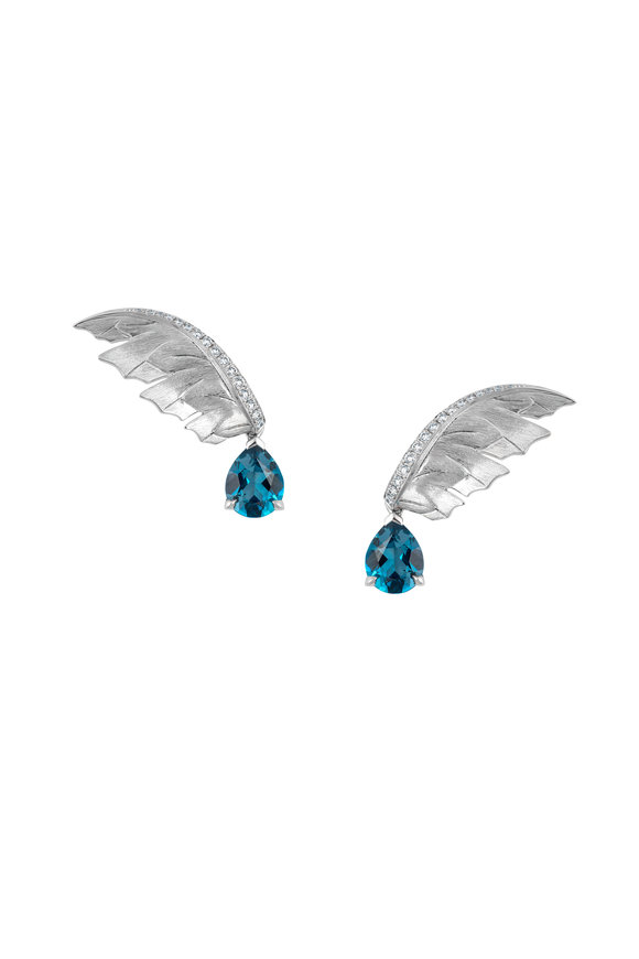 Stephen Webster White Gold Topaz Magnipheasant Feather Earrings