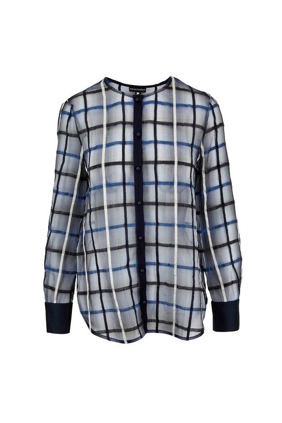 Emporio Armani Blue Sheer Windowpane Long Sleeve Top