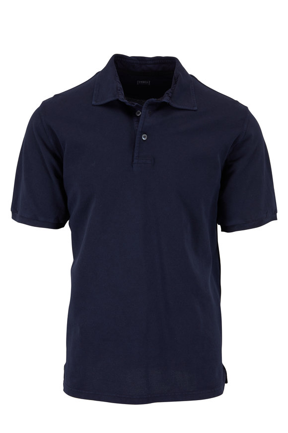 Fedeli Navy Blue Piquè Polo