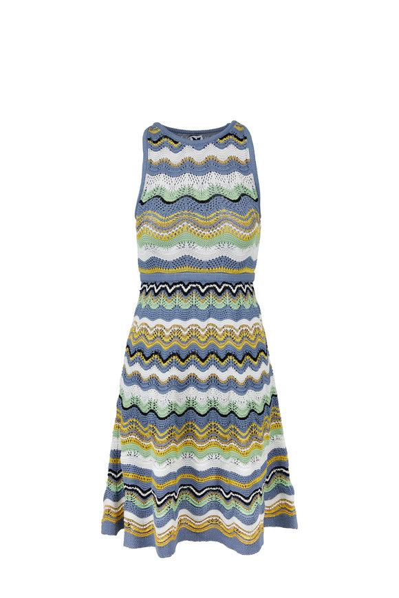 M Missoni Gray, White & Yellow Sleeveless Midi Dress