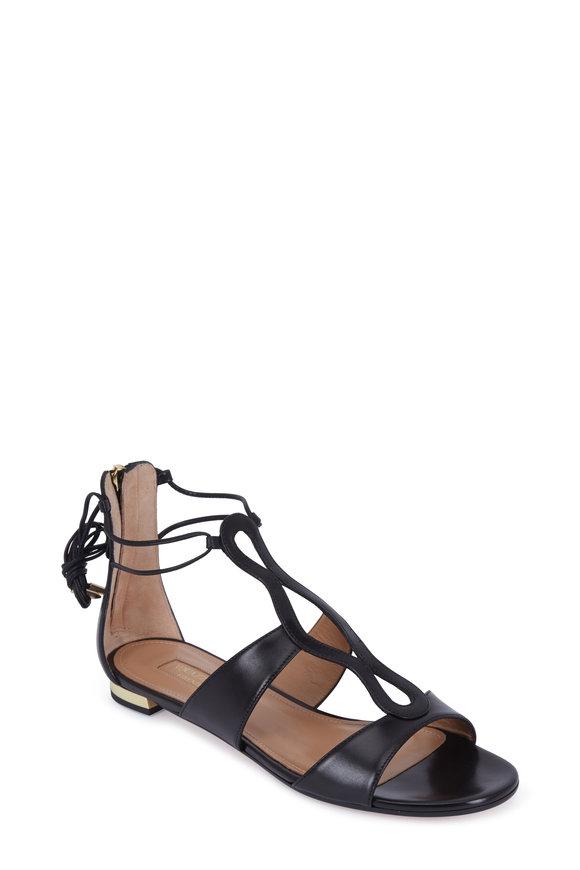 Aquazzura Flirt Black Leather Ankle Tie Flat Sandal