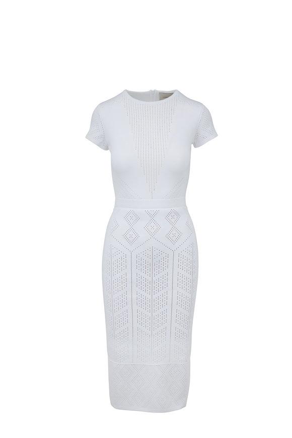 Carolina Herrera White Jacquard Knit Short Sleeve Dress