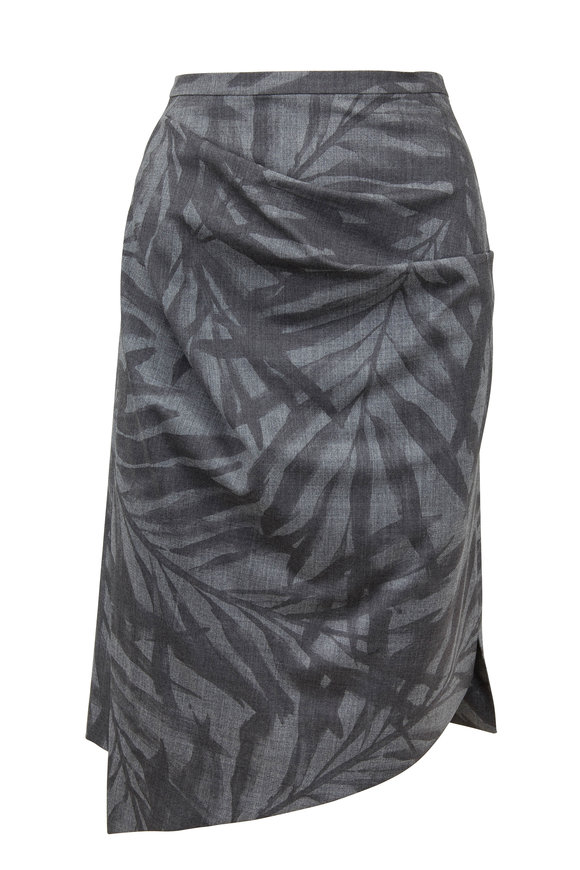Michael Kors Collection Banker Gray Stretch Wool Palm Print Ruched Skirt