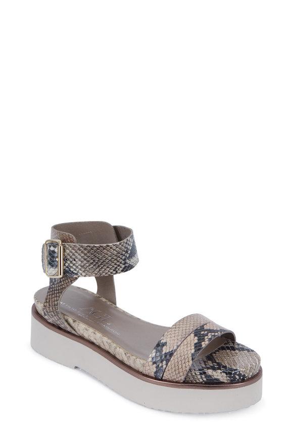 AGL Natural Snakeskin Printed Leather Flatform Sandal