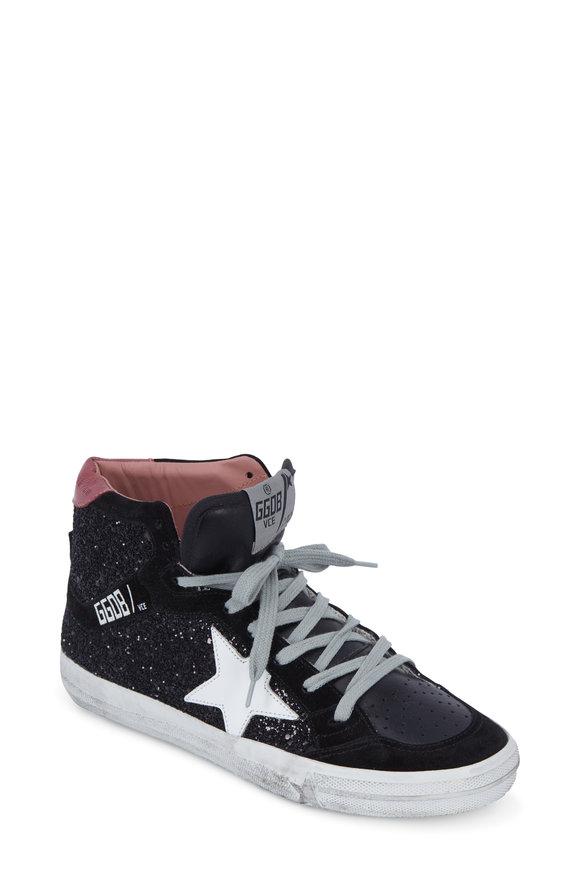 Golden Goose Women's Black Glitter & White Star Slide Sneaker