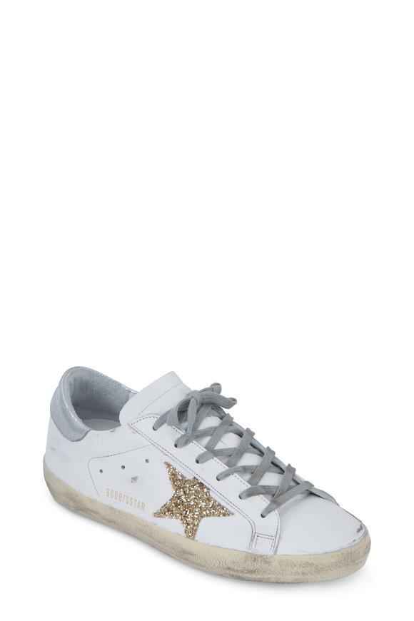 Golden Goose Women's Superstar White Glitter Gold Star Sneaker