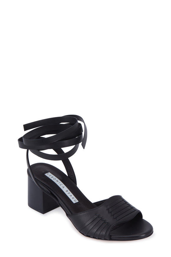 Veronica Beard Brody Black Leather Huarache Tie Sandal, 60 mm