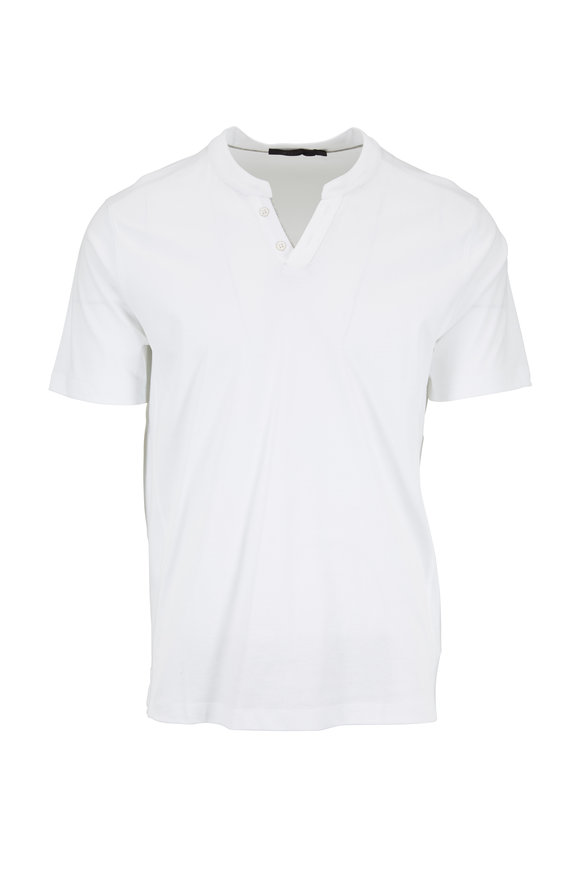 Raffi  White Cotton Short Sleeve Henley