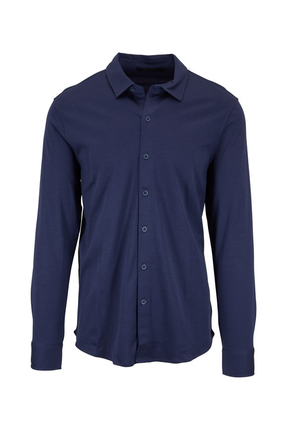 Raffi  Navy Button Down Knit Sportshirt