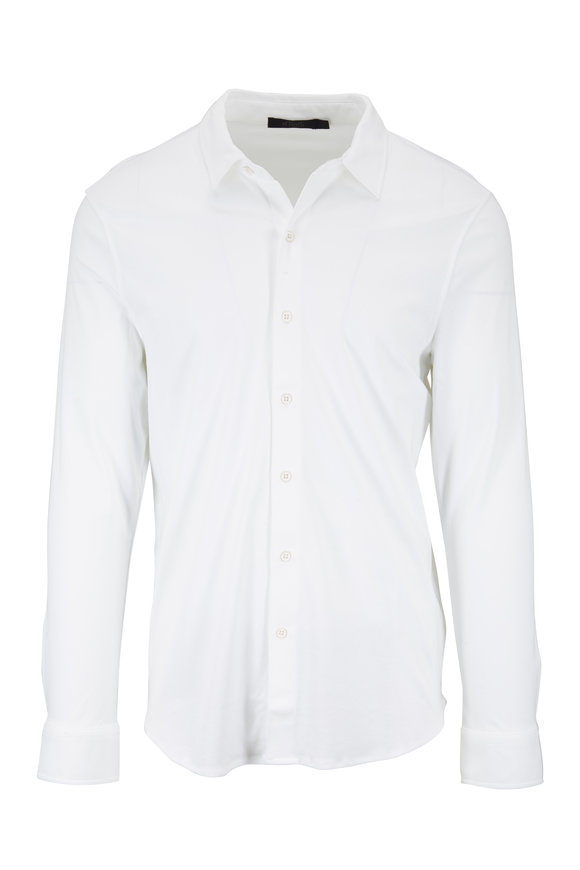 Raffi  White Cotton Knit Sport Shirt